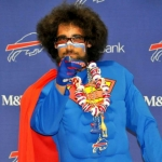 buffalo bills sports fan super bill wearing a cape